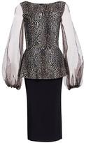 Chiara Boni Hasana Sheer Leoppard Print Peplum Dress