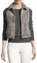 Adrienne Landau Cropped Shearling Vest, Taupe