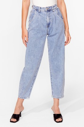 Nasty Gal Womens Wash Me Work It High-Waisted Relaxed Jeans - Blue