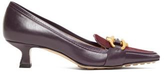 Bottega Veneta Madame Leather Pumps - Womens - Burgundy
