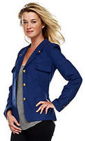 Rachel Zoe Luxe Notch Collar Military Jacket w/Front Pockets & Button Detail
