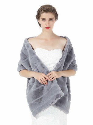 BEAUTELICATE Faux Fur Shawl Bridal Wrap for Women Wedding Stole Bridesmaids Cape Shrug Winter Cover Up Champagne