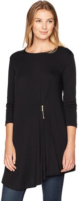 Joan Vass Women's Drape Front Tunic