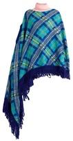 DELPOZO Roll-neck plaid-knit asymmetric poncho