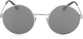 Saint Laurent SL 136 ZERO Palladium Gray Metal Round-Frame Unisex Sunglasses