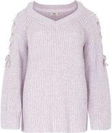 River Island Womens Light purple tie shoulder knit jumper