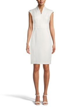 Anne Klein Zip-Front Crepe Sheath Dress