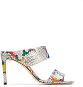Jimmy Choo HIRA 85 Multicolour Glossy Printed Elaphe Mules with Double Straps