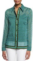Michael Kors Deco-Print Button-Down Shirt, Aqua