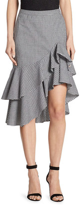 Scripted Tiered Ruffled Gingham Skirt