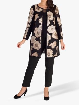 chesca Metallic Floral Organza Jacquard Coat, Rose Gold/Black
