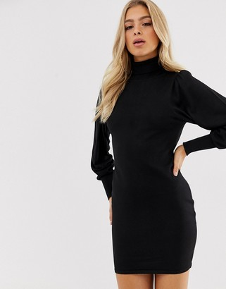 Asos Design DESIGN roll neck mini dress with statement sleeve in recycled blend