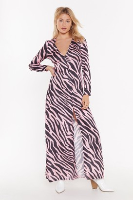 Nasty Gal Womens Button Me Up Animal Maxi Dress - Pink
