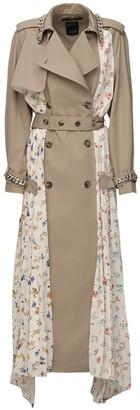 Rokh Floral Print Gabardine Trench Coat