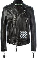 Off-White diagonal stripe biker jacket