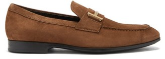 Tod's T-logo Suede Penny Loafers - Tan