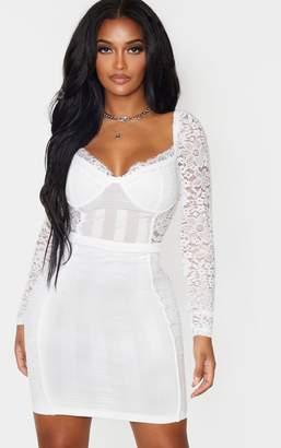 PrettyLittleThing Shape White Lace Mesh Stripe Long Sleeve Bodycon Dress