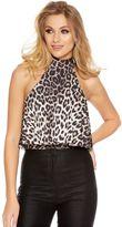 Quiz Black And Stone Leopard Print Frill Bodysuit