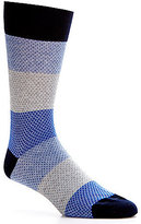 Daniel Cremieux Textured Block Stripe Crew Dress Socks