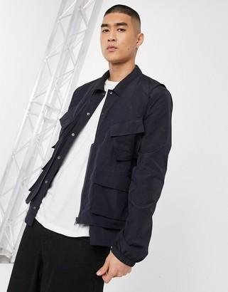 ASOS DESIGN 2-in-1 harrington jacket with detachable utility vest in navy