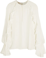 Giambattista Valli Ruffled Cutout Silk Crepe De Chine Top - White