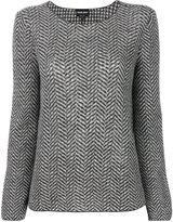 Giorgio Armani herringbone-effect printed sweater - women - Virgin Wool - 42