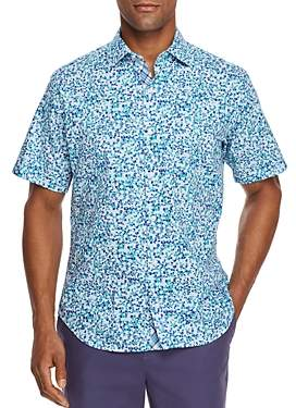Tailorbyrd Sani Short-Sleeves Pebble-Print Classic Fit Shirt