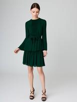 Oscar de la Renta Pleated Silk-Georgette Skirt