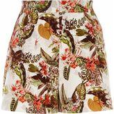 River Island Womens White tropical floral print smart shorts