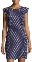Donna Morgan Ruffle-Sleeve Polka-Dot Shift Dress, Blue Pattern