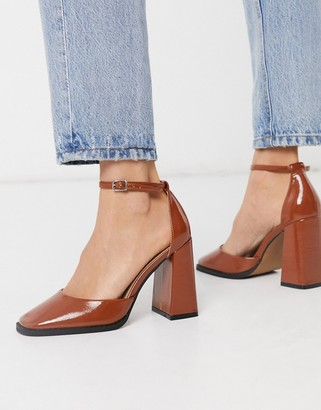 ASOS DESIGN Perri square toe high heels in tan patent