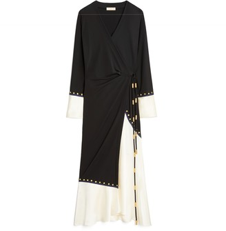 Mixed-Material Wrap Dress