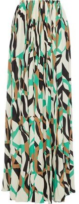 Roberto Cavalli Pleated Printed Stretch-crepe Maxi Skirt