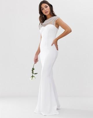 City Goddess bridal capped sleeve fishtail maxi dress with embellished detail-White