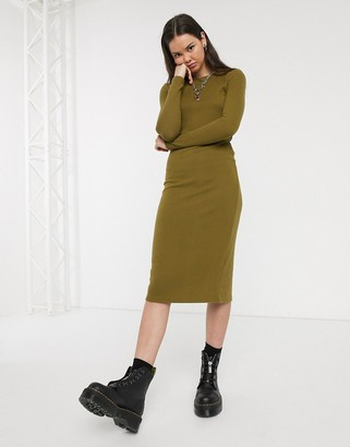 Noisy May maxi knitted jumper dress in khaki