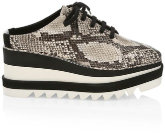 Stella McCartney Sneak-Elyse Snakeskin-Embossed Platform Wedge Sneaker Mules