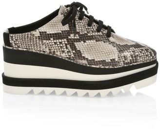 Stella McCartney Sneak-Elyse Snakeskin-Embossed Platform Wedge Sneaker Mules