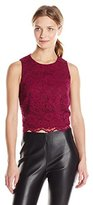 Nicole Miller Women's Corded Floral Lace Top