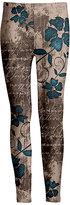 Azalea Brown Script & Blue Floral Leggings - Plus Too