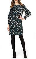 Donna Morgan Pleated Ruffle Sleeve Shift Dress