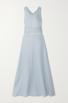 ALBUS LUMEN Lima Open-back Linen Maxi Dress - Blue