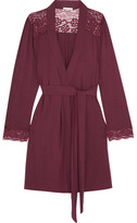 Eberjey Lila Lace-trimmed Stretch-modal Robe - Claret