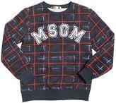 MSGM Logo Patch On Printed Cotton Sweatshirt