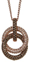 Judith Jack Crystal & Marcasite Interlocked Ring Pendant Necklace
