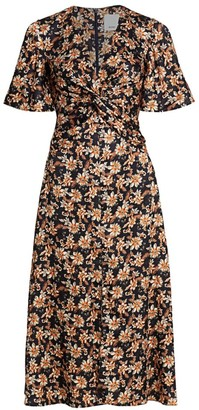Acler Tippet Floral Flutter-Sleeve Midi Dress