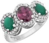 PIERA 14K White Gold Natural Rhodolite & Cabochon Emerald 3-Stone Ring Oval Diamond Accent, size 9