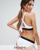 Monki Plunge Cross Back Bikini Top with Contrast Band