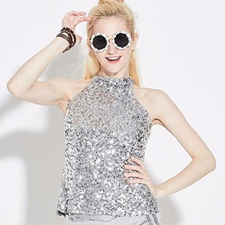 Ai.Moichien Womens Shimmer Sparkly Sequins Halter Neck Vest All Over Sequin Camisole Vest Tank Tops Jazz Dance Clubwear Rose Red
