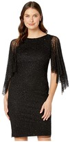 Adrianna Papell Beaded Cocktail Dress with Flutter Sleeves (Black) Women's Dress