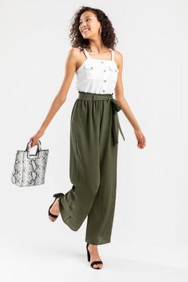 francesca's Amry Utility Paperbag Jumpsuit - Olive